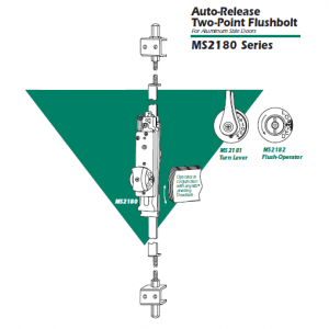 Adams Rite - Auto-Release Two-Point Flushbolt  MS 2180 Series